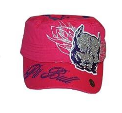 Pit Bull Rhinestone Glitter Cadet Military Style Cap (Pink)