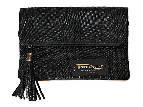BORDERLINE - 100% Made in Italy - Pochette in Vera Pelle stampata CRISTINA (Nero)
