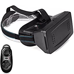 Findbest 3D VR Virtual Reality Headset Video Game Glasses with Magnet For 3.5~6 inch Smartphones iPhone 7 plus Samsung Motorola LG, Adjustable Pupillary Distance, with Bluetooth Controller