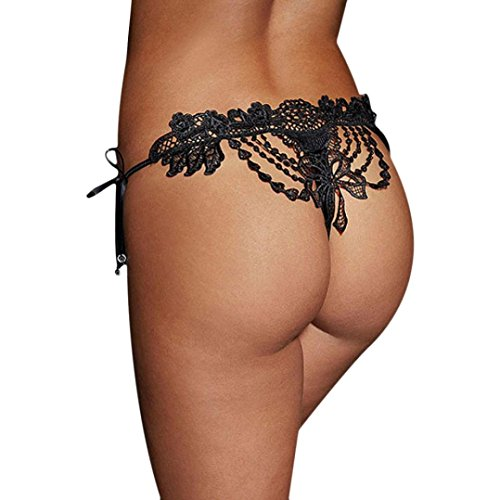 Amlaiworld Donna Intimo,Lady Lace Slip biancheria Thongs G-string (Nero)