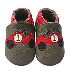Toddlers Baby Girls Boys Genuine Leather Soft Sole Slippers in Various Patterns and Sizes(18-24m, Car)