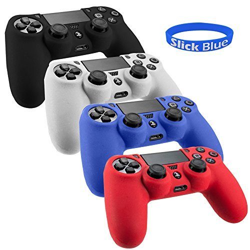 SlickBlue Pack of 4 Color Combo Flexible Silicone Protective Case For Sony PS4 Game Controller - Black/Red/Blue/White [PlayStation 4] (Ps4 Controller Covers compare prices)