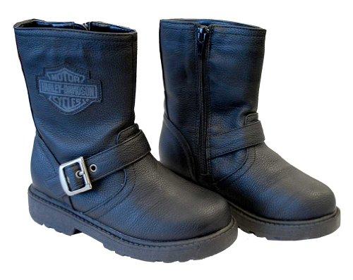Harley-Davidson Boys Youth PU Pleather Biker Boot Black (8 Toddler) (Harley Davidson Kids Clothing compare prices)