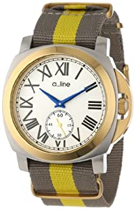 a_line Women's AL-80007-YG-SS-02-GY Pyar Silver Textured Dial Grey and Yellow Nylon Watch