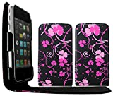 Gr8Value sAMSUNG Galaxy S3 i9300 PU LEATHER MAGNETIC FLIP CASE COVER WALLET POUCH + FREE STYLUS (PINK FLWR BLACK flip)
