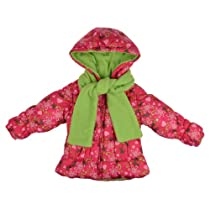 London Fog Girls Fleece Lined Floral Print Bubble Jacket