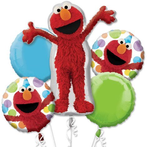 Elmo Style Birthday Bouquet Of Balloons (5 per package) - 1