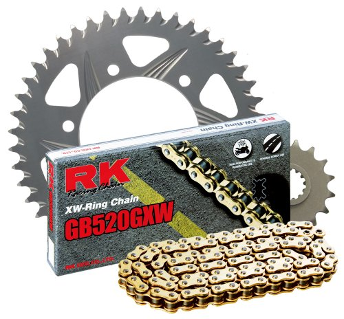 RK Racing Chain 1107-008RG Silver Aluminum Rear Sprocket and GB520GXW Chain 520 Race Conversion Kit