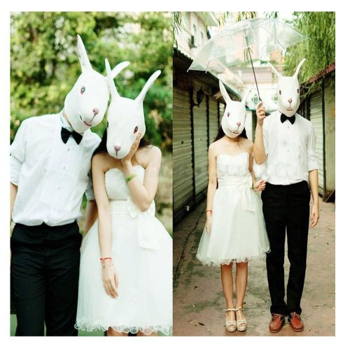 Om(tm) White Rabbit Masks Animal Bunny Masquerade Party Mask - Fancy Dress