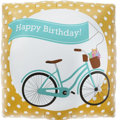 Birthday Bike Banner Helium Foil Balloon - 18 inch