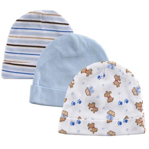 3-Pack Infant Caps, Blue, 0-6 months