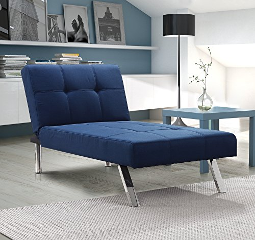 Layton Chaise Lounge Sofa Sectional in Premium Linen, Available in Navy and Tan with Slanted Chrome Legs (Chaise, Navy)
