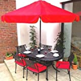 Home & Garden Direct Cast Aluminium Oval Garden Furniture Set for 6 with Cushions & Parasol Anthracite