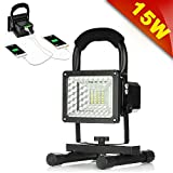 [15W 24LED] Rechargeable Work Lights, GRDE Outdoors Camping Emergency Lights with SOS Mode, Portable Floodlights with Built-in Lithium Batteries and 2 USB Ports to Charge Digital Devices (Black)