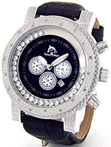buy Mens Techno Master Genuine Diamond Watch Silver Case Black Leather Band #Tm-2081-P