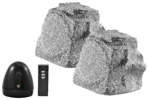 Osd Audio Wr150 Wireless 5.25-Inch Outdoor 2.4 Ghz Rock Speaker Pair, Grey