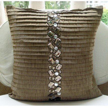 Almost Real - 16X16 Inches Square Decorative Throw Light Brown Silk Pillow Covers With Pintuck And Crystal Embroidery front-688891