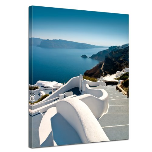 Bilderdepot24 Leinwandbild Santorini Treppe - Griechenland - 50x70 cm 1 teilig - fertig gerahmt, direkt vom Hersteller