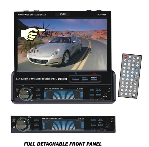 PYLE PLTS79BT 7-Inch Single DIN In-Dash Motorized Touch Screen TFT/LCD Monitor with DVD/CD/MP3/MP4/USB/SD/AM-FM/RDS/Bluetooth and Screen Dial Pad