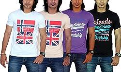 MaximBlue Men's White Light Brown Purple Black T-Shirt