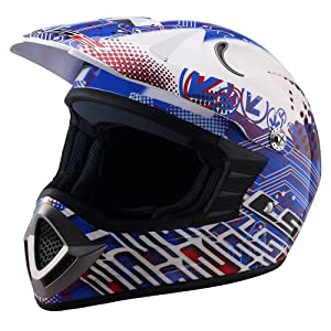 LS2 Helmets MX426 Junior Off-Road Motorcycle Helmet with Silicone Flag Graphic (Red/White/Blue, Small)
