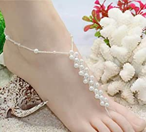 Fashion Jewelry ~ White Faux Pearls Barefoot Sandals Wedding, Beach and Pool Anklets (Pair() Style TS130)