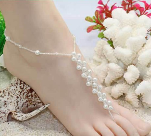 Fashion Jewelry ~ White Faux Pearls Barefoot