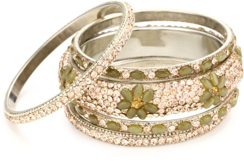 Chamak by priya kakkar Peach Crystal and Peach Glass Bead Bangle Bracelets