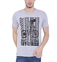 Wolfpack Men Outdoor Fitness Grey Melange Cotton T Shirts - Half Sleeves - Round Neck - Feel Free and Ride