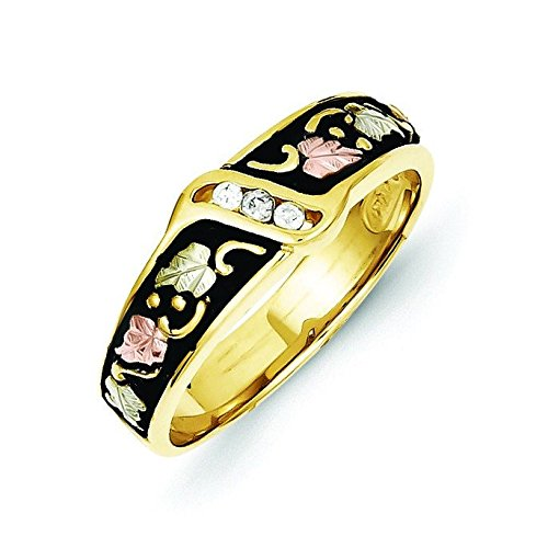 10k Tri-color Black Hills Gold Mens Antiqued Wedding Band Ring - Higher Gold Grade Than 9ct Gold