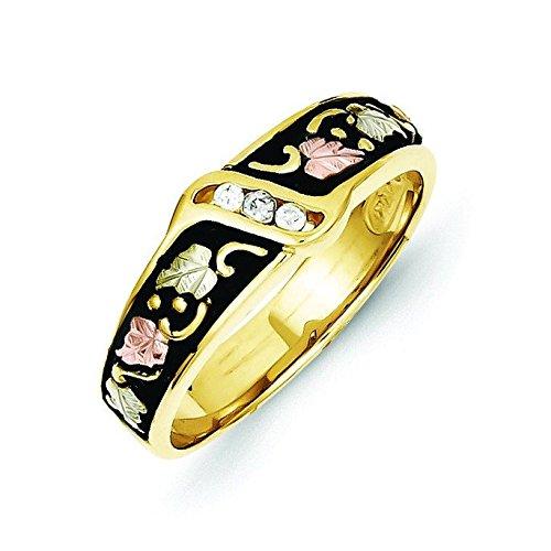 10k Tri-color Black Hills Gold Mens Antiqued Wedding Band Ring - Higher Gold Grade Than 9ct Gold