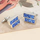 Pical Blue Square Dril Trapezoid Cufflinks