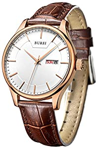 BUREI Men's Day and Date Brown Calfskin Leather Wrist Watches with White Dial
