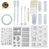 SUBANG 9 Pcs Jewelry Casting Molds Silicone Resin Jewelry Molds with 48 Screw Eye Pins, 2 Plastic Stirrers, 1 Hand Twist Drill and 2 Plastic Droppers