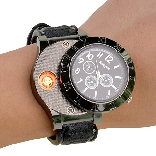 Ckeyin ® 2 in 1 Rechargeable Windproof Flameless Wrist Watch Cigarette Flame Lighter - Black