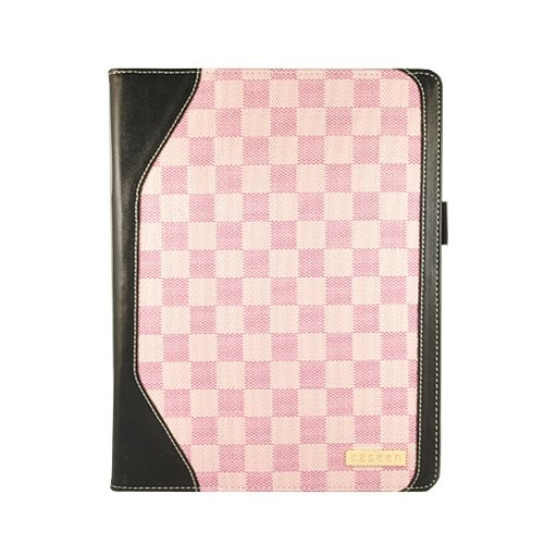caseen Pink Checker Plaid Smart Case Cover With Stand for Apple iPad 2 Tablet PC