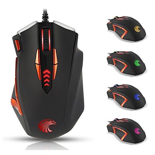 KingTop Gaming Mouse Programmabile con 400/800/1600/3200/4000 DPI 13 Tasti Programmabili 5 Profili Di Memoria Mouse da gaming per il gioco PC Game MMO Nero e Arancia
