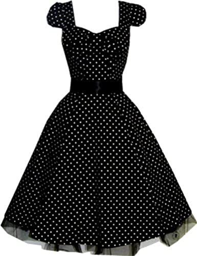 Polka  Dress on 1950s Dresses  Polka Dot Black Swing 50s Style Dress   1950s Dresses