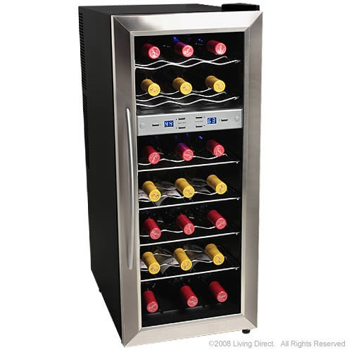 EdgeStar 21 Bottle Freestanding Dual Zone Stainless Steel Wine Cooler