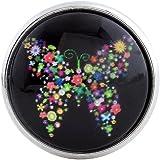 Morella Damen Glas Click-Button Druckknopf Schmetterling aus Blumen schwarz