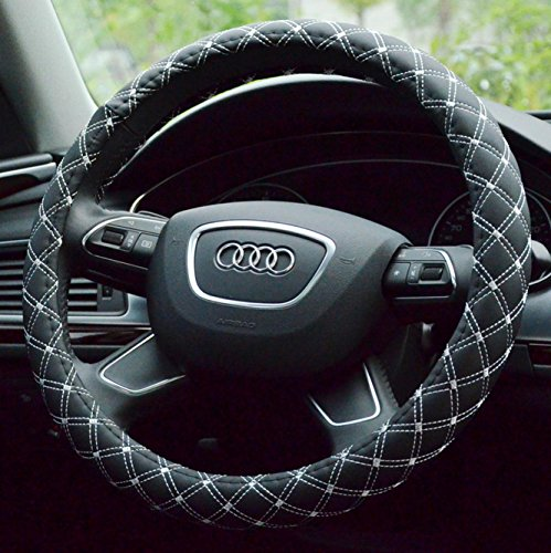 Onlineb2c Diamond Quilted Stitching Pattern Leather Steering Wheel Cover Case (Black With White) (Black Wheel Cover With Diamonds compare prices)