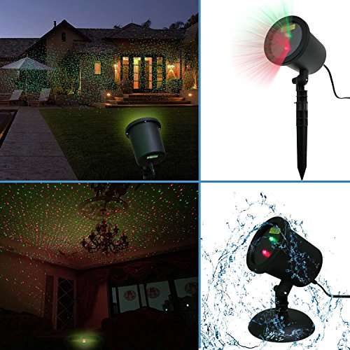 Waterproof Red & Green Laser Light Sparkling Landscape Projector for Garden/Tree/ Outdoor Wall Decoration and Family Gathering Party Christmas Holiday Decoration KTV Wedding Bar Night Club