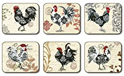 Jason Damask Rooster S/6 Coasters