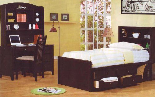 Cheap Cappuccino Finish Full Chest Bed Kids Bedroom Set Desk (B001DDGFS4)