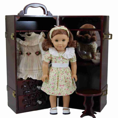 "18"" Doll & Clothes Storage Case Furniture For American Girl® , Wooden Doll Trunk,Vanity,Stool,Hangers"