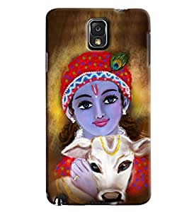 Blue Throat Krishna With Cow Printed Designer Back Cover/ Case For Samsung Galaxy Note 3