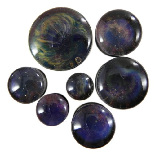 Andromeda Double Flare Planet Glass Plugs - 3/4