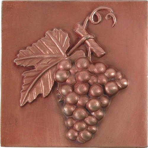 Brass Elegans 27G-RC Grape Design Solid Metal 4-Inch X 4-Inch Accent Tile, Durable Red Copper Finish