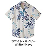 かりゆしウェア レディース (沖縄版アロハシャツ) スキッパー ユートピアハイビ ホワイト×ネイビー S