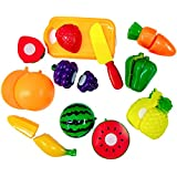 IndiPlay Sliceable Fruits And Vegetables Kitchen Set Toy With Various Fruits,Vegetables,Kinfe And Cutting Board,8 Pcs